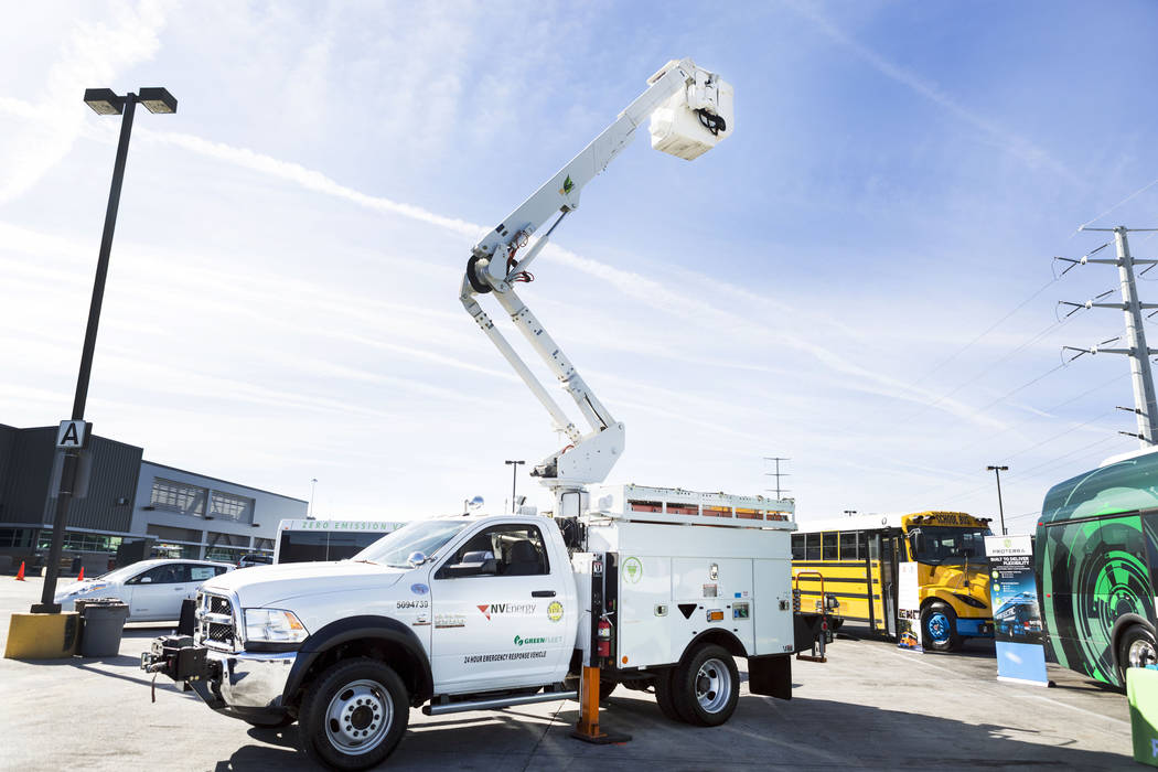 An NV Energy Green Fleet utility vehicle at the Regional Transportation Commission of Southern Nevada Training Center, Wednesday, March 8, 2017, in Las Vegas.(Elizabeth Brumley/Las Vegas Review-Jo ...