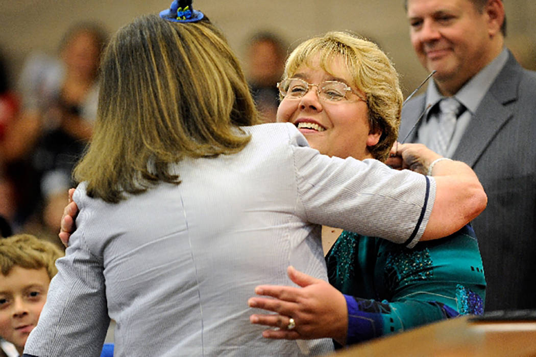 North Las Vegas City Councilman Anita Wood, right, is congratulated by former Congresswoman Shelley Berkley after Berkley swore in Wood during the oath of office ceremony. (Las Vegas Review-Journal)