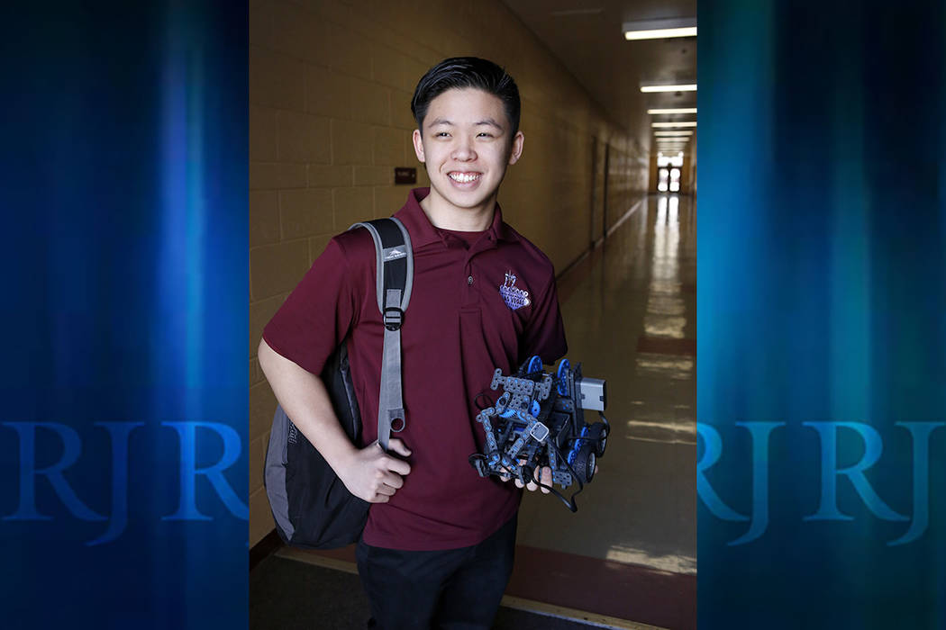 Oscar Ho, 15, at the Cimarron-Memorial High School on Thursday, Feb. 23, 2017, in Las Vegas. Ho is the president of the school's robotics team. The team has won numerous awards. (Christian K. Lee/ ...