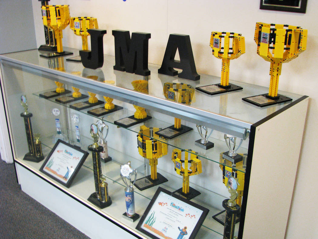 Some of the awards the Lego Leaders team have won are on display in the front office of Jo Mackey Academy of Leadership and Global Communication through Technology 2726 Englestad Street, North Las ...