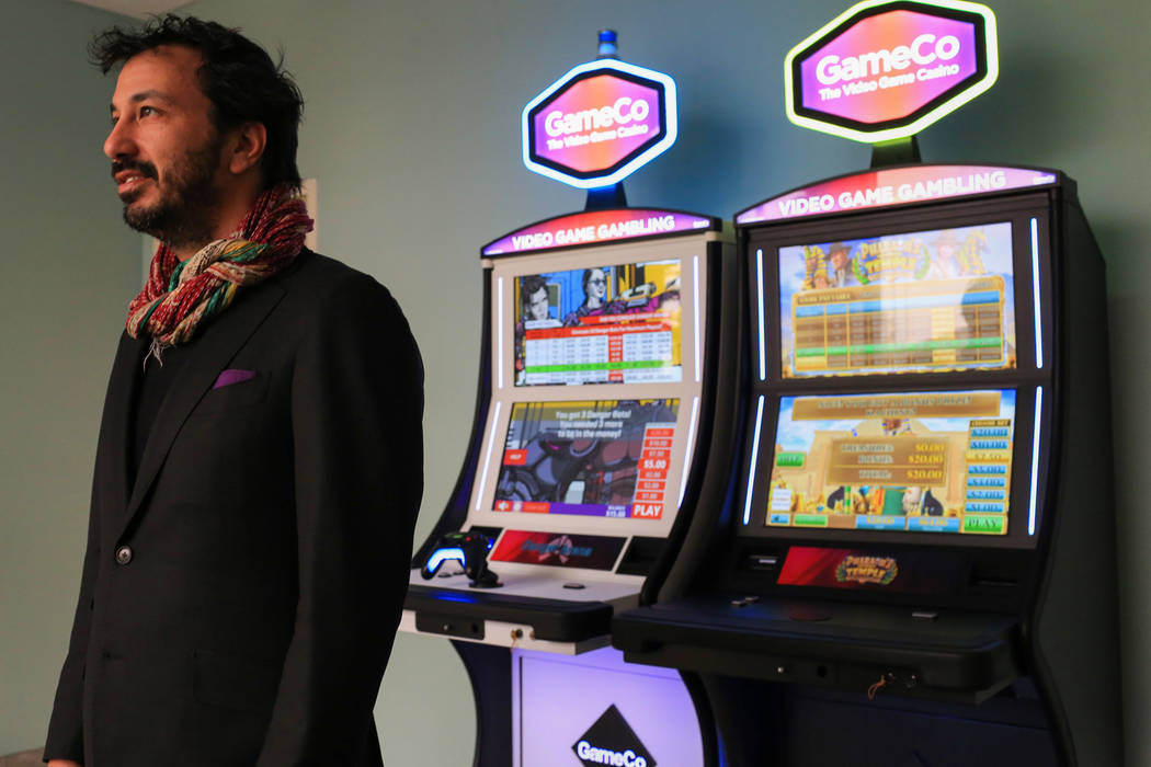 Blaine Graboyes, the CEO of GameCo, near two of his unique gaming machines he hopes will change the industry at his office in Las Vegas on Friday, March 10, 2017. (Brett Le Blanc/Las Vegas Review- ...