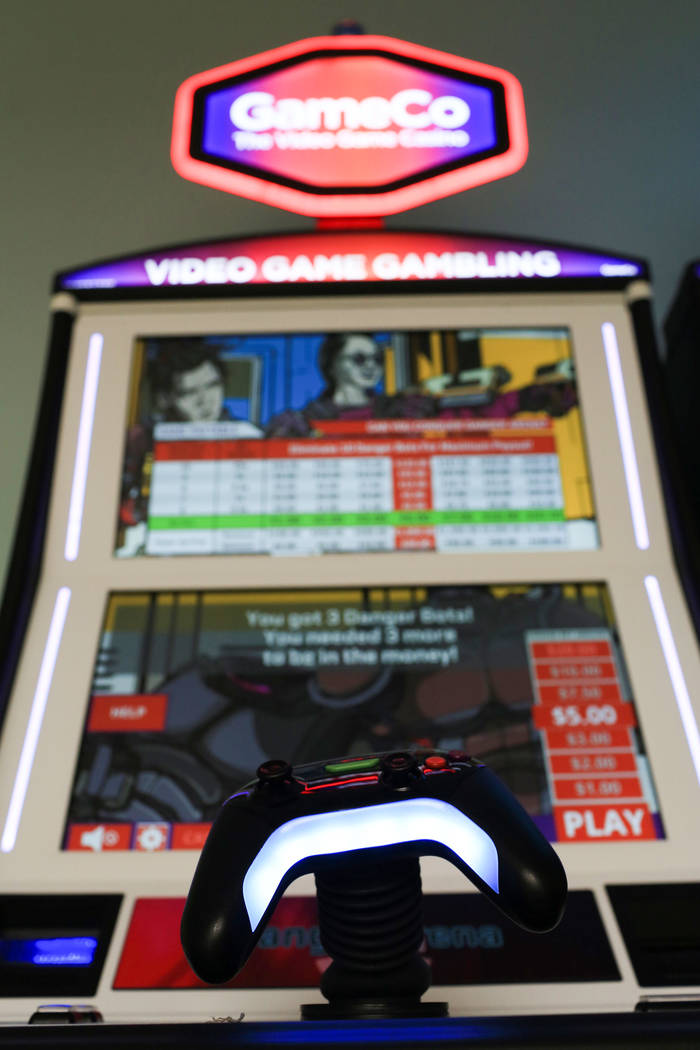 A controller is attached to some GameCo machines, one of the unique facets to the gaming machines made for people who grew up on video games, at the GameCo office in Las Vegas on Friday, March 10, ...