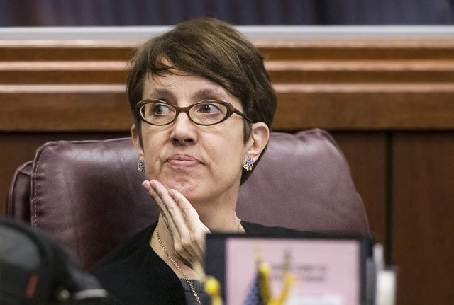 Assemblywoman Heidi Swank, D-Las Vegas, listens to comments from a colleague during the fourth day of the Nevada Legislative session on Thursday, Feb. 9, 2017, in Carson City. (Benjamin Hager/Las  ...