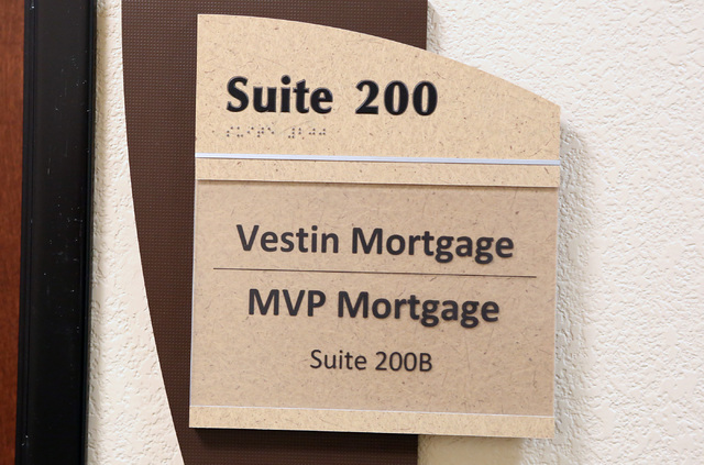 A sign outside the office of Vestin Mortgage inside the building at 8880 W. Sunset Rd., on Thursday, Jan. 26, 2017, in Las Vegas. (Bizuayehu Tesfaye/Las Vegas Review-Journal) @bizutesfaye
