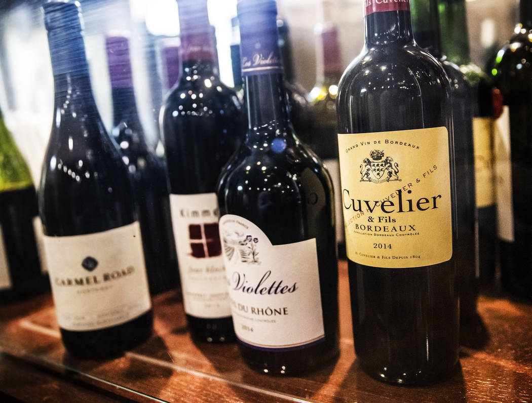 A bottle of 2014 Cuvelier Bordeaux, right, at Ohlala French Bistro on Wednesday, March 15, 2017, in Las Vegas. (Benjamin Hager/Las Vegas Review-Journal) @benjaminhphoto