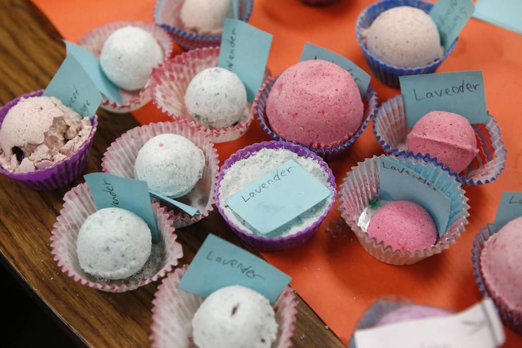 Bath bombs that was made by fifth graders in a Claude & Stella Parson's Elementary School classroom on Friday, March 10, 2017, in Las Vegas. (Christian K. Lee/View) @chrisklee_jpeg