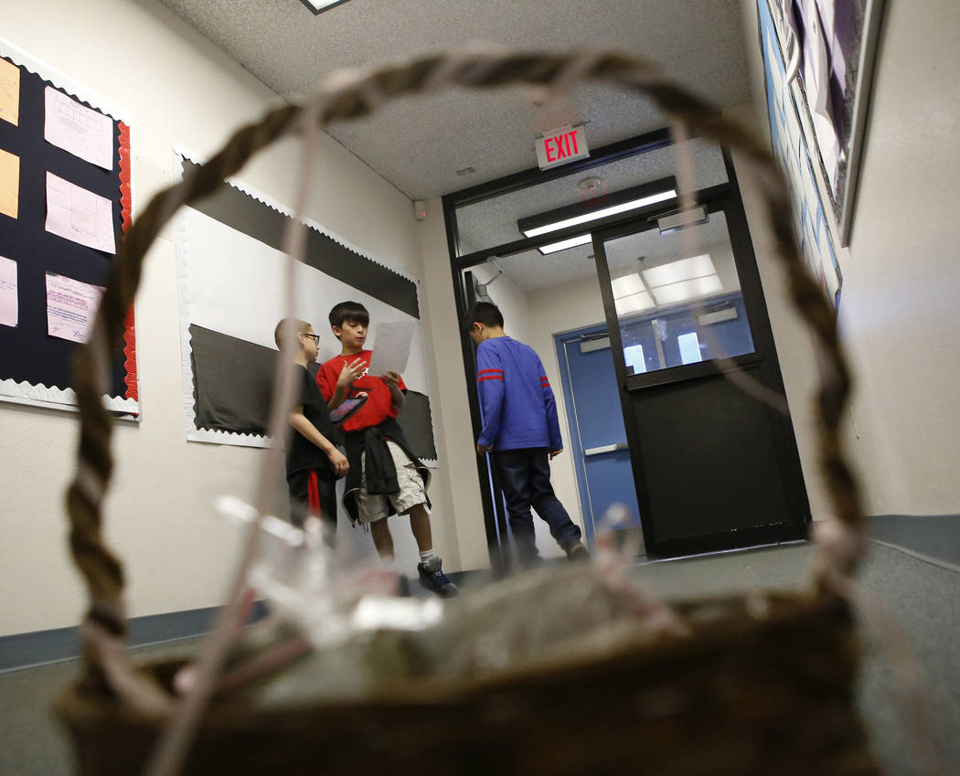 Fifth graders practice for a commercial they are making for their student-run business at Claude & Stella Parson Elementary School on Friday, March 10, 2017, in Las Vegas. (Christian K. Lee/Vi ...