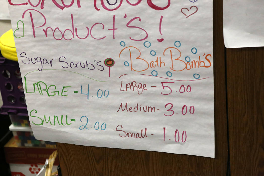 Prices for products that were made by Fifth graders who are operating a student-run business at Claude & Stella Parson Elementary School on Friday, March 10, 2017, in Las Vegas. (Christian K.  ...