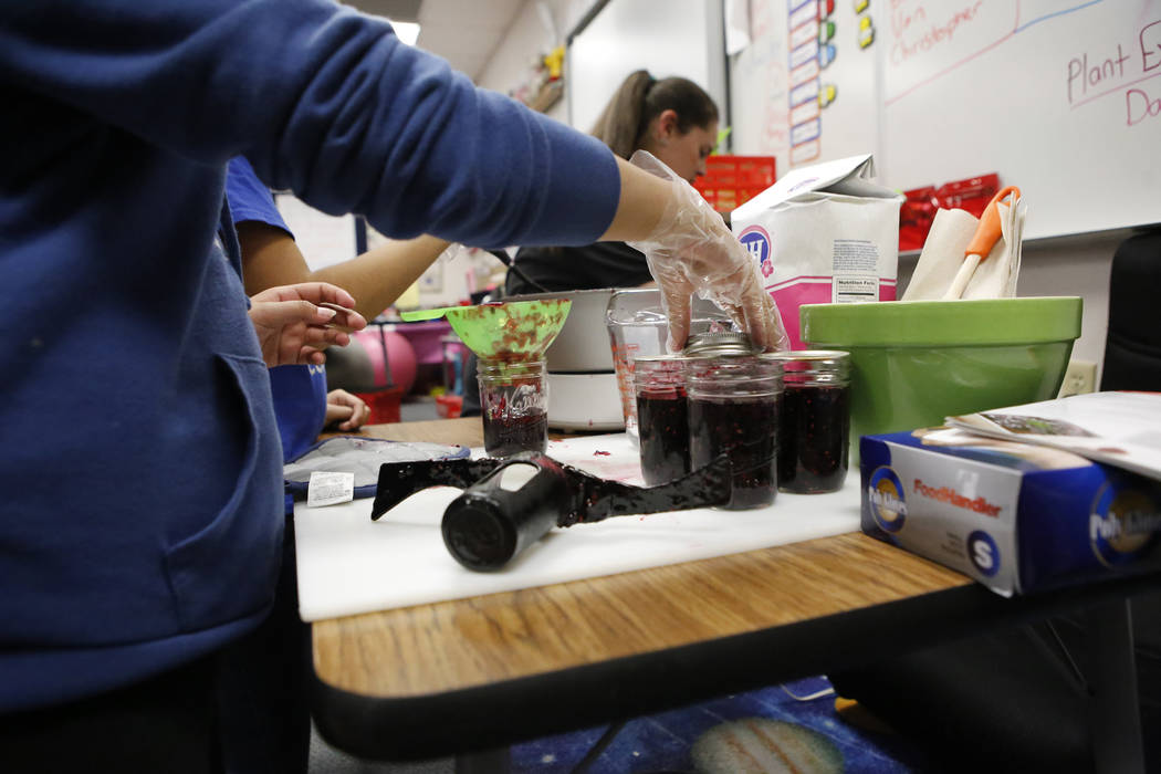Fifth graders make jam as they operate a student-run businesses at Claude & Stella Parson Elementary School on Friday, March 10, 2017, in Las Vegas. (Christian K. Lee/View) @chrisklee_jpeg