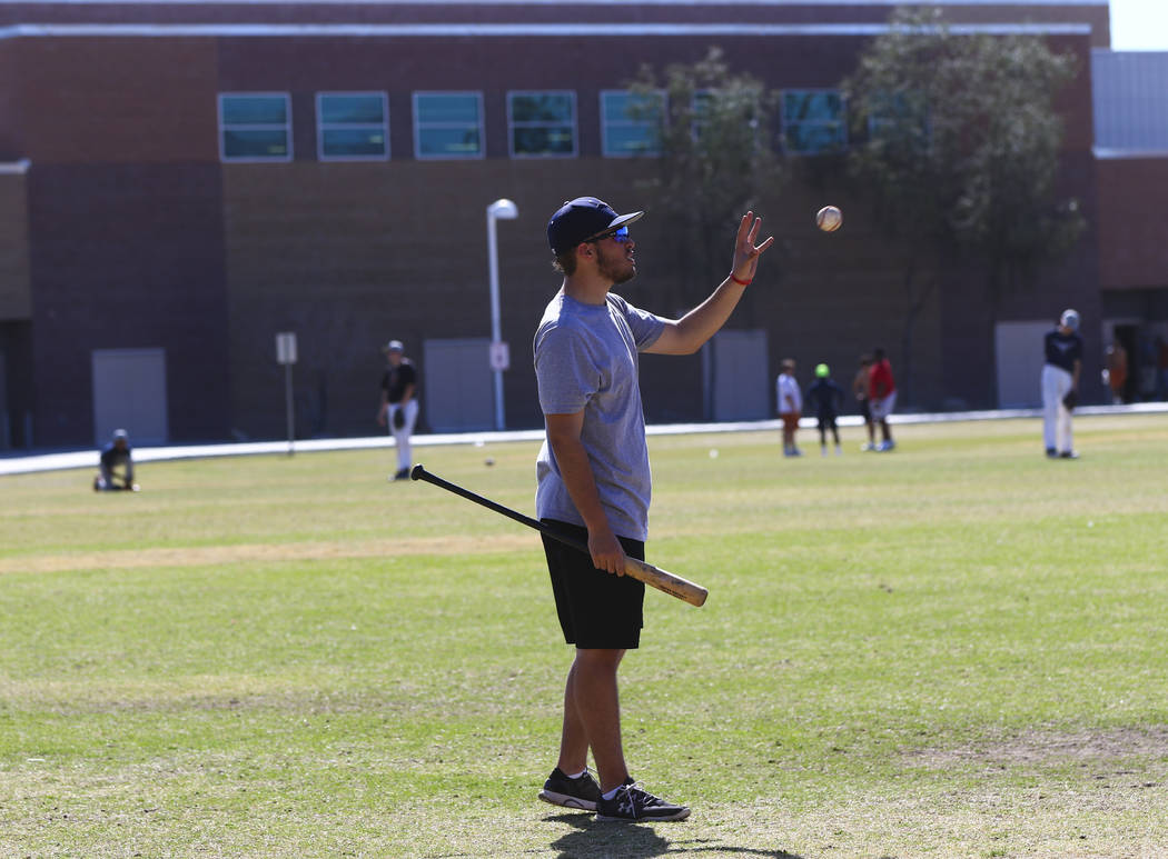 Coach of the junior varsity Legacy High School baseball team Nick Lauria during practice at Legacy High School in Las Vegas on Monday, March 13, 2017. (Miranda Alam/Las Vegas Review-Journal) @mira ...