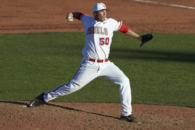 Joey Lauria pitches for UNLV in a game against Nebraska in February 2015. (Courtesy)