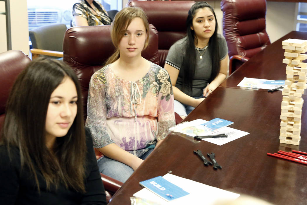 Lauren Feldman, left, Miriam Thomas, and Joanna Briones, right, attend a Job Shadowing Day meeting at the Associated Builders and Contractors building Thursday, March 9, 2017, in Las Vegas. (Bizua ...