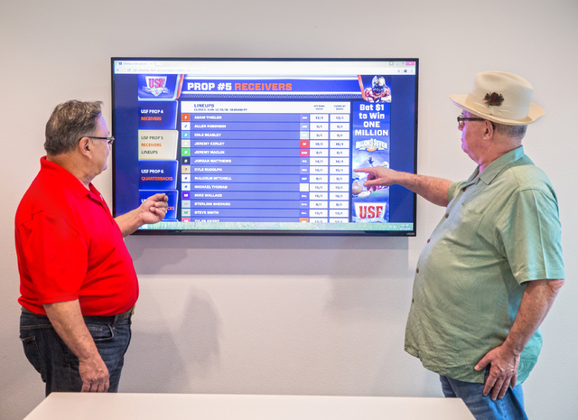 US Fantasy president Vic Salerno, left, discusses betting odds on a video display board with marketing manager Tom Willer on Thursday, Dec. 15, 2016, at US Fantasy, in Las Vegas. (Benjamin Hager/L ...