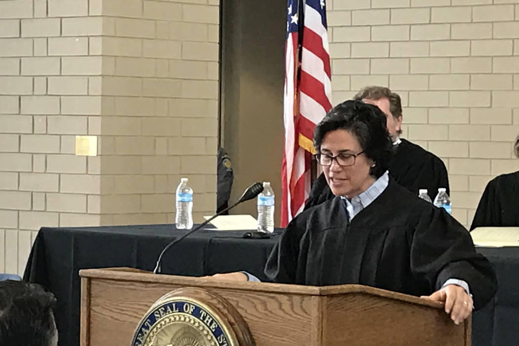 Nevada Supreme Court Justice Lidia Stiglich addresses family, friends and colleagues at her investiture ceremony Thursday, March 9, 2017 in Carson City. (Sandra Chereb/Las Vegas Review-Journal)