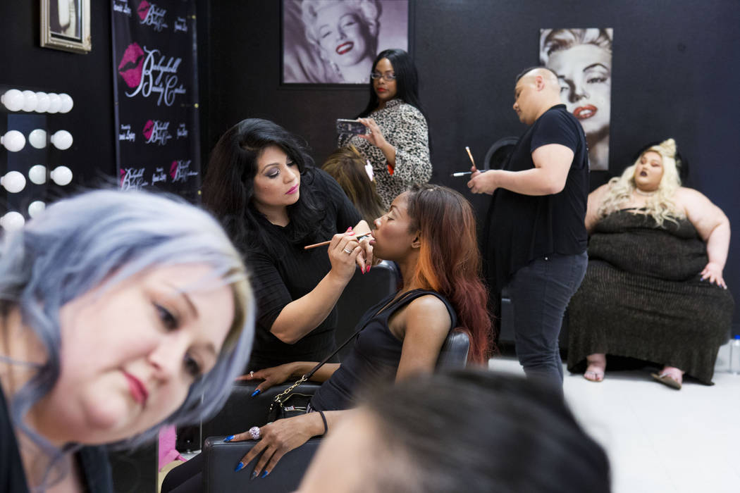Makeup artists work on models at Babydoll Beauty Couture, a new salon catering to plus-sized women located on North Decatur Blvd. and West Lake Mead Blvd., Las Vegas, Wednesday, March 15, 2017. (E ...