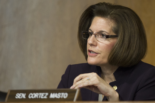 U.S. Sen. Catherine Cortez Masto, D-Nev., questions Energy Secretary-designate, former Texas Gov. Rick Perry, during his confirmation hearing before the Senate Energy and Natural Resources Committ ...