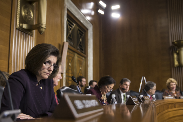 U.S. Sen. Catherine Cortez Masto, D-Nev., listens during the confirmation hearing of Energy Secretary-designate, former Texas Gov. Rick Perry, before the Senate Energy and Natural Resources Commit ...
