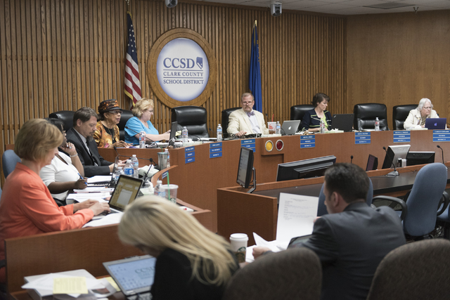 The Clark County School District Board of Trustees is seen during the CCSD board meeting to approve the district's final budget for the 2016-17 academic year at the Greer Education Center in Las V ...