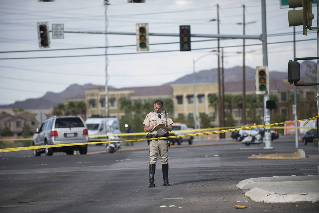 Las Vegas police investigate a fatal crash at Russell Road and Boulder Highway in Las Vegas on Thursday, Sept. 1, 2016. (Martin S. Fuentes/Las Vegas Review-Journal)