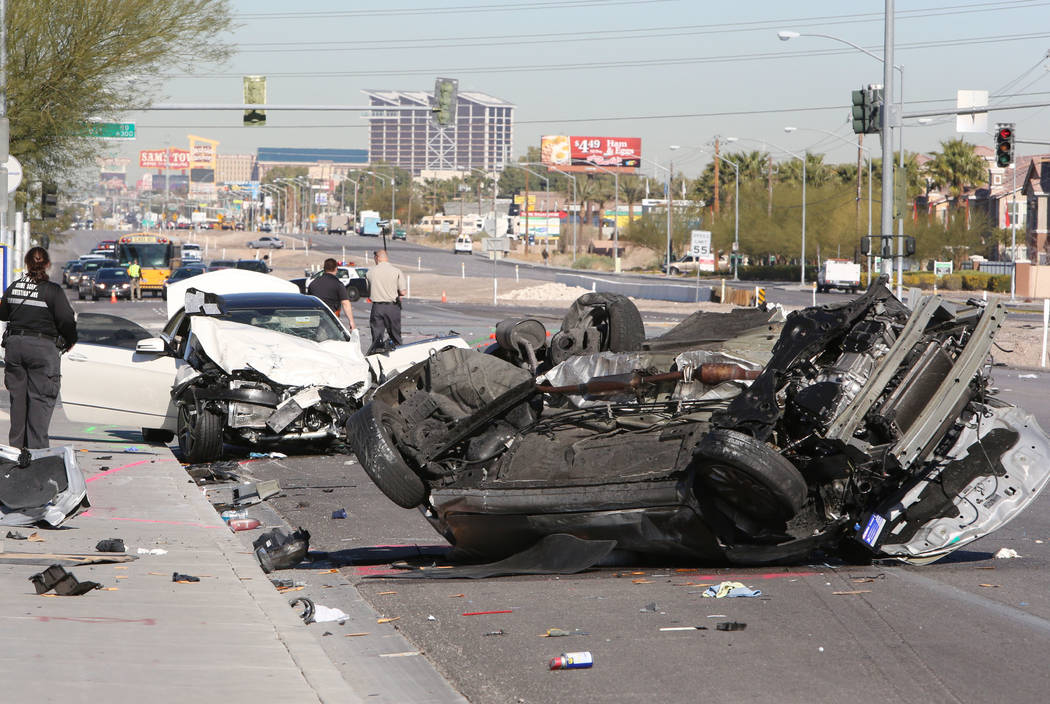 The two vehicles who were involved in a fatal accident are seen at the accident scene on Thursday, March 5, 2015, at Russell Road and Boulder Highway. (Bizuayehu Tesfaye/Las Vegas Review-Journal)