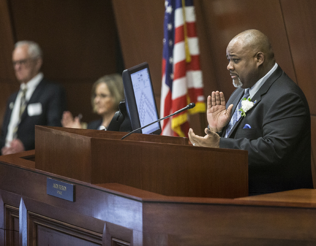 Assembly Speaker Jason Frierson, right, gives a round of applause to the family members of fellow assemblymen in attendance during the first day of the Nevada Legislative session on Monday, Feb. 6 ...