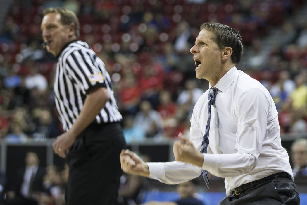 Nevada Wolf Pack head coach Eric Musselman reacts during a play against Fresno State Bulldogs in the Mountain West tournament semifinal at the Thomas & Mack Center on Friday, March 10, 2017, i ...
