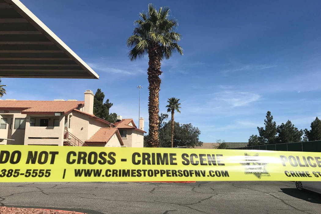 Las Vegas police are investigating the discovery of a teenage girl's burned body near an apartment complex in the northwest valley on Saturday, March 11. (Rio Lacanlale/ Las Vegas Review-Journal ...