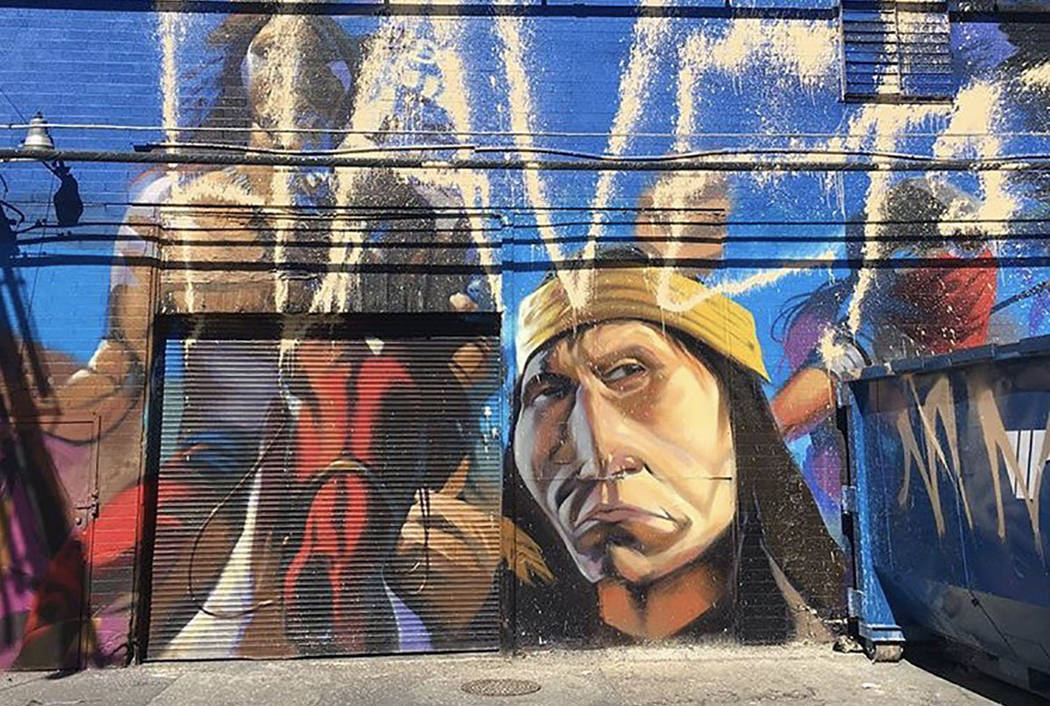 Taggers vandalized the Dakota Access Pipeline protest mural in the Arts District in downtown Las Vegas. (Fawn Douglas, Las Vegas Paiute Tribe member)
