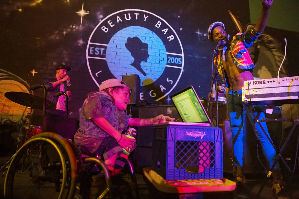 Wheelchair Sports Camp performs at Beauty Bar during the Neon Reverb music festival on Friday, March 10, 2017, in Las Vegas. (Benjamin Hager/Las Vegas Review-Journal) @benjaminhphoto