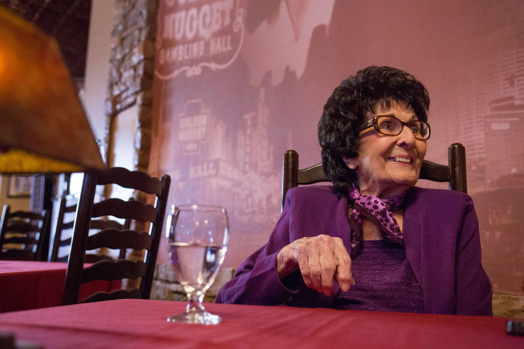 Maria Perry, who turns 100 on March 13, and Vegas Italian cooking icon, in her restaurant Bootlegger Bistro, Monday, March 6, 2017, Las Vegas.  (Elizabeth Brumley/Las Vegas Review-Journal) @EliPag ...
