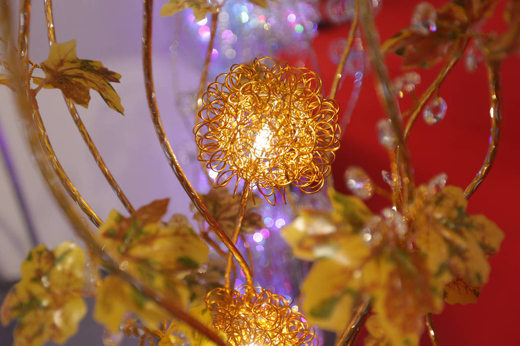 A flower lamp for sale at the booth of the Aukia World Ltd. during the ASD trade show on Sunday, March 19, 2017, at the Las Vegas Convention Center in Las Vegas. (Rachel Aston/Las Vegas Review-Jou ...