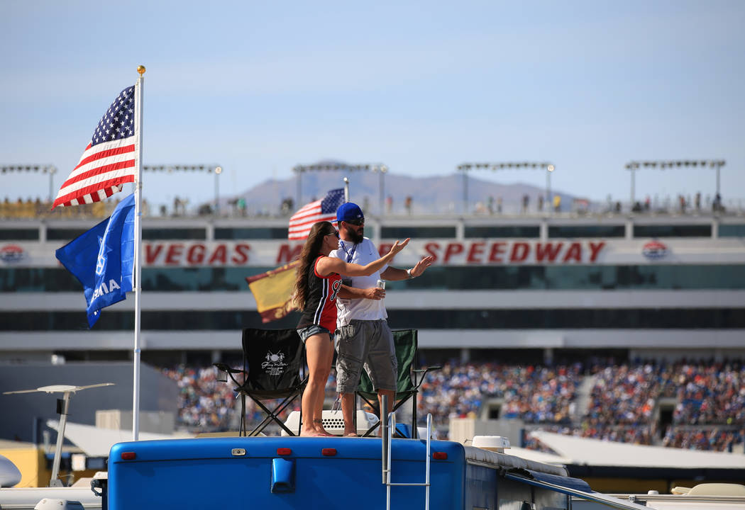 Fans watch the Monster Energy NASCAR Cup Series Kobalt 400 auto race at Las Vegas Motor Speedway in Las Vegas, Sunday, March 12, 2017. (Brett Le Blanc/Las Vegas Review-Journal)