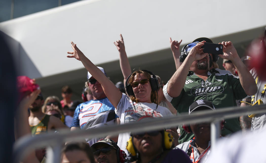Fans take in the action during the Monster Energy NASCAR Cup Series Kobalt 400 auto race at Las Vegas Motor Speedway in Las Vegas on Sunday, March 12, 2017. (Chase Stevens/Las Vegas Review-Journal ...