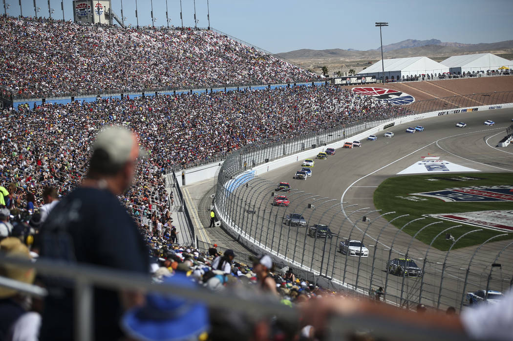 Drivers compete during the Monster Energy NASCAR Cup Series Kobalt 400 auto race at Las Vegas Motor Speedway in Las Vegas on Sunday, March 12, 2017. (Chase Stevens/Las Vegas Review-Journal) @csste ...