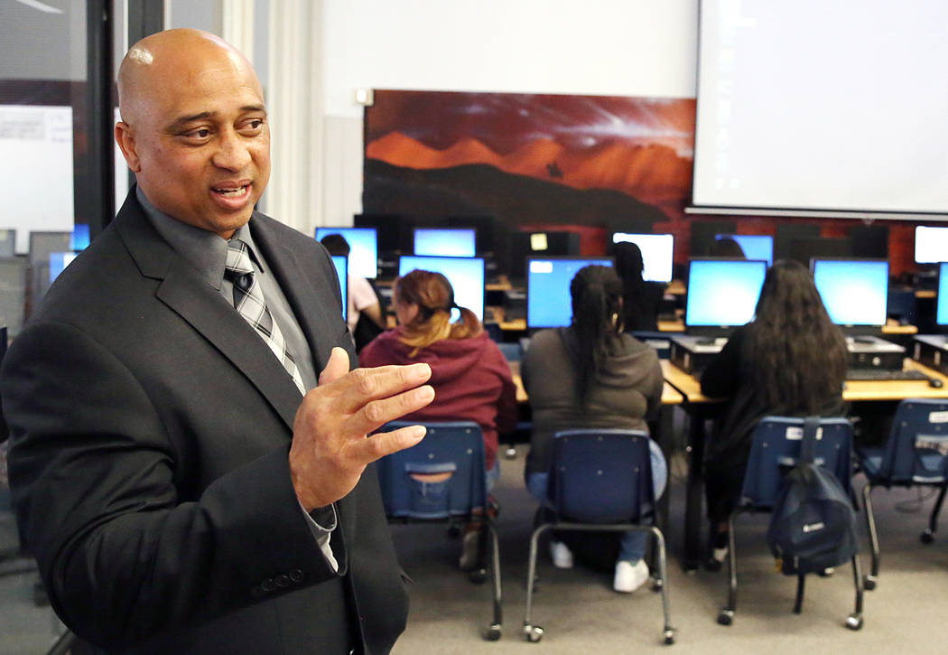 Chaparral High School principal Lolo James, who's receiving an award from Communities in Schools for his work preventing kids from dropping, speaks during an interview Wednesday, March 15, 2017, i ...