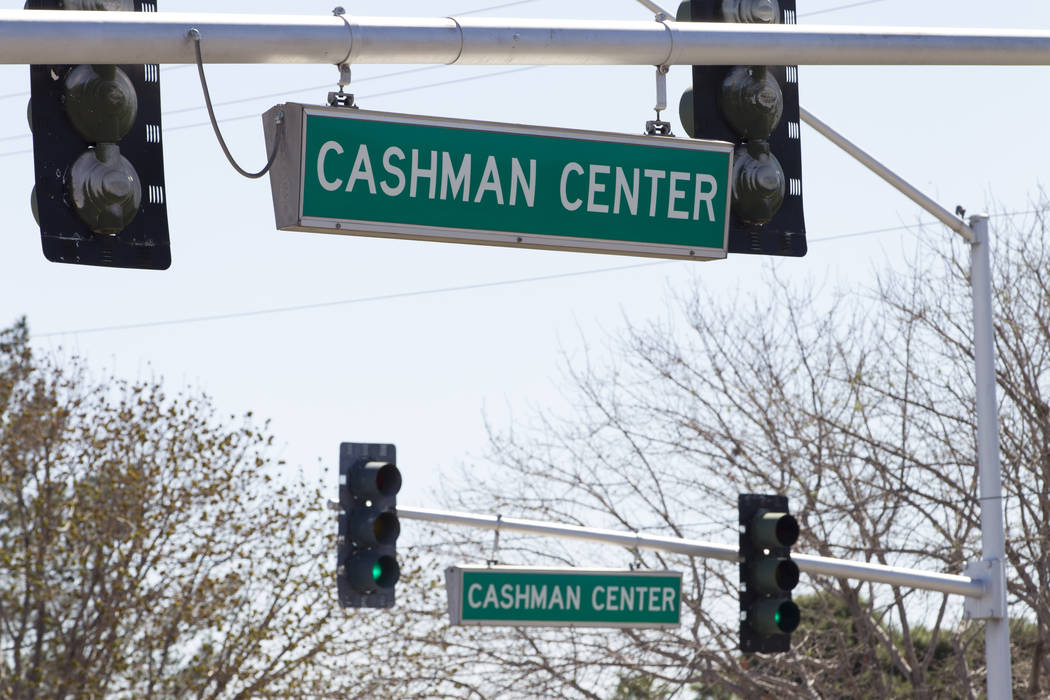 Streets signs to Cashman Center on Tuesday, March 14, 2017, in Las Vegas. (Erik Verduzco/Las Vegas Review-Journal) @Erik_Verduzco