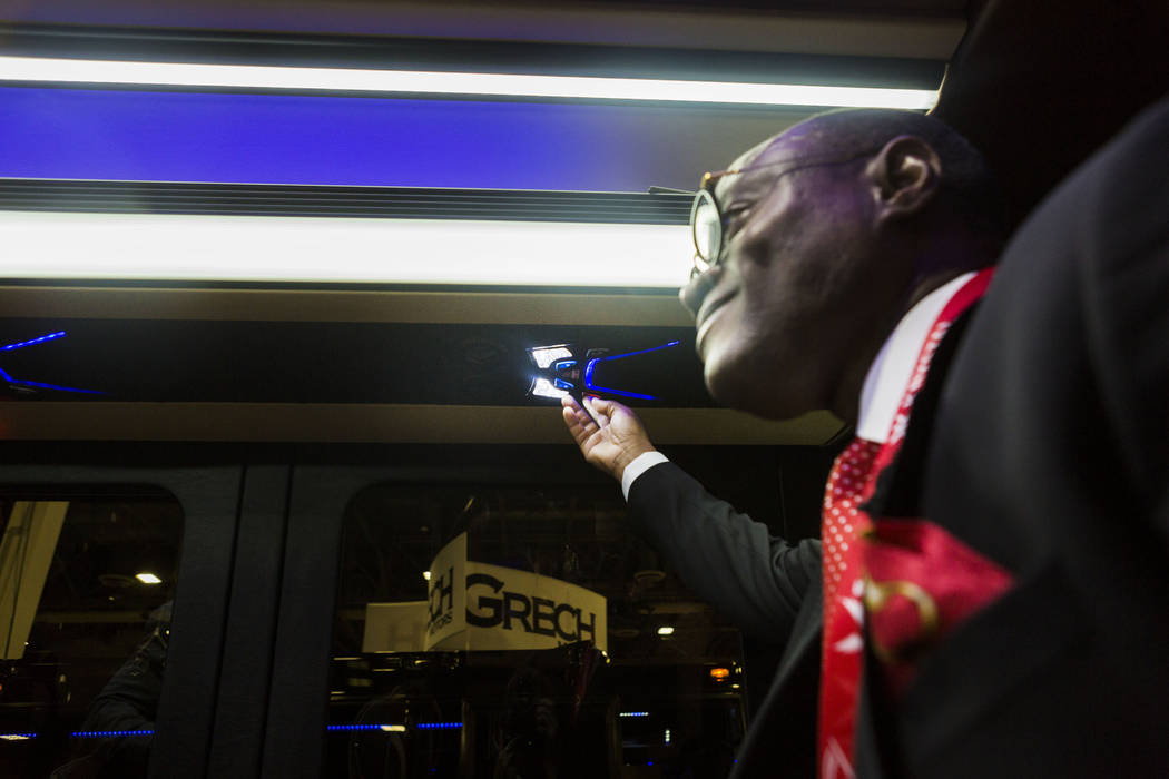 President of Executive Coach Builders David Baker gives a tour of a luxury coach bus on display during the International LCT Show at The Venetian and the Palazzo in Las Vegas, Tuesday, March 14, 2 ...