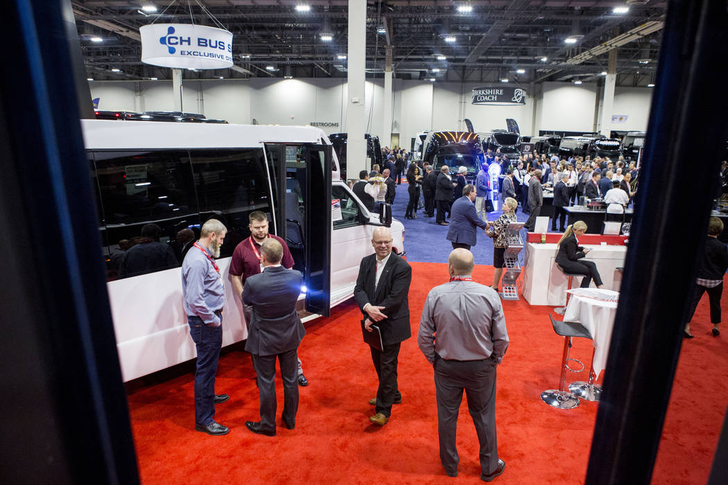 Luxury transportation vehicles are displayed at the International LCT Show at the International LCT Show at The Venetian and the Palazzo in Las Vegas, Tuesday, March 14, 2017. (Elizabeth Brumley/L ...