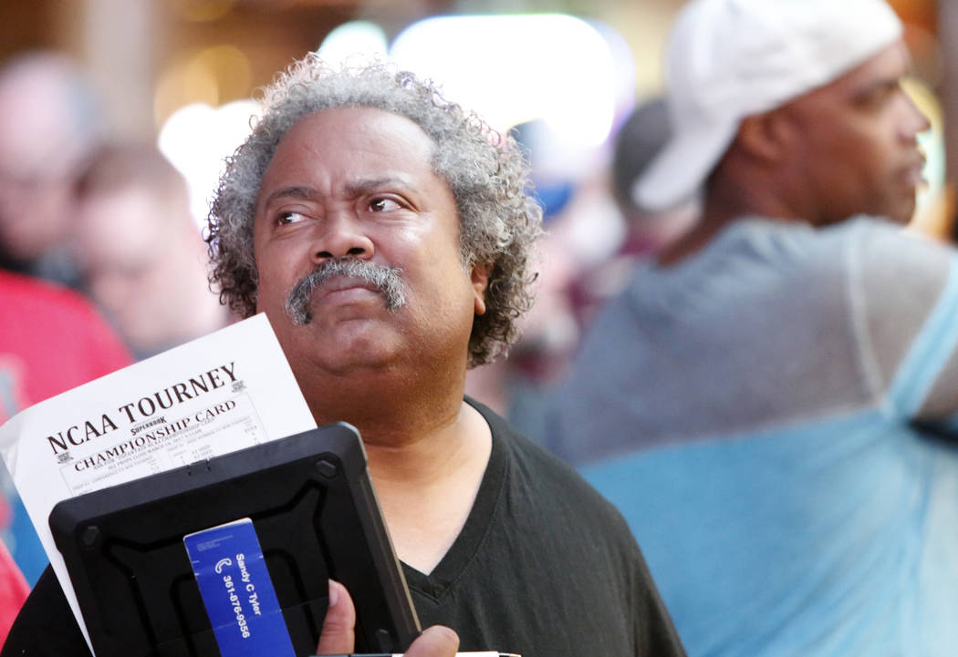 Sandy Tyler of Corpus Christi, Texas, waits in line to bet on the NCAA basketball tournament at Westgate sports book on Thursday, March 16, 2017, in Las Vegas. (Bizuayehu Tesfaye/Las Vegas Review- ...