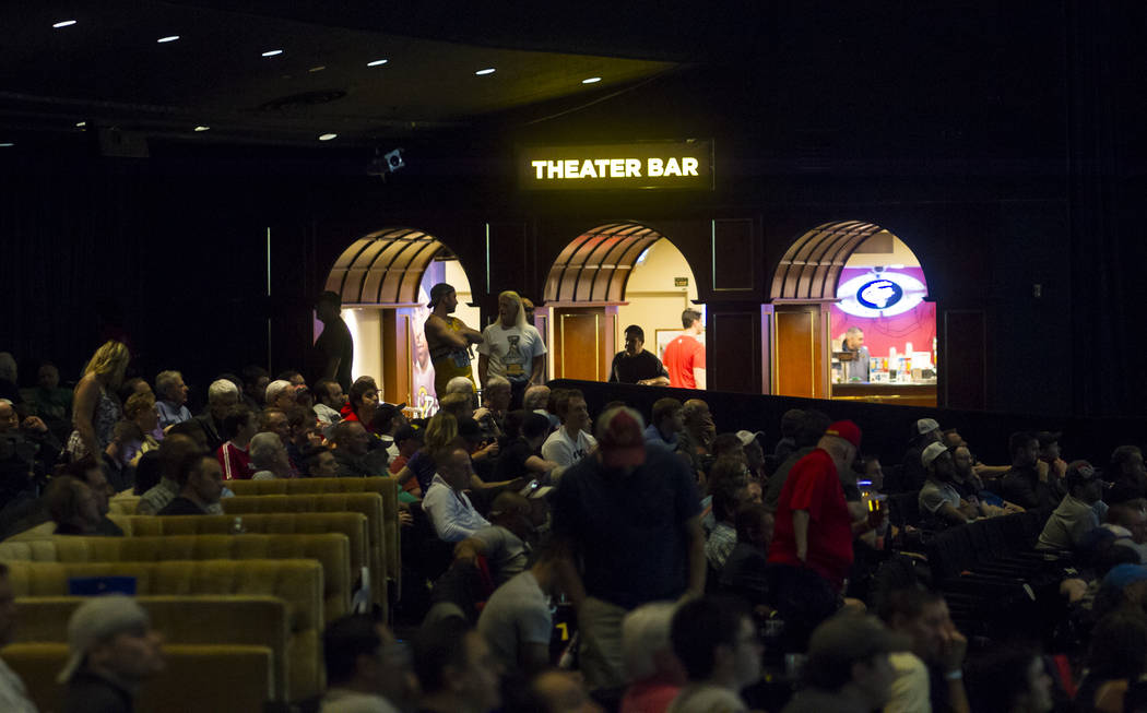 Basketball fans watch the action during the first day of the NCAA basketball tournament at the International Westgate Theater in Las Vegas on Thursday, March 16, 2017. (Chase Stevens/Las Vegas Rev ...