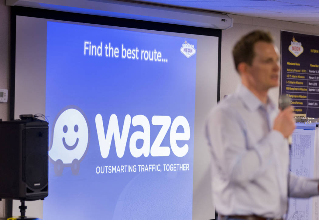 Dale Keller, Nevada Department of Transportation senior project manager, encourages drivers to use Waze, a free GPS navigation app, for routes during the large-scale construction project, the &#x2 ...
