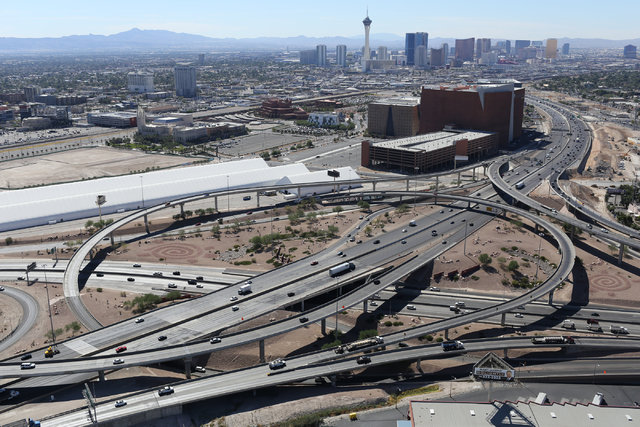 """The U.S. 95 and Interstate 15 interchange, commonly called the """"spaghetti bowl,"""" is seen  in Las Vegas on Monday, Sept. 26, 2016. U.S. Highway 95 will lose a traffic lane in each direction between ..."""
