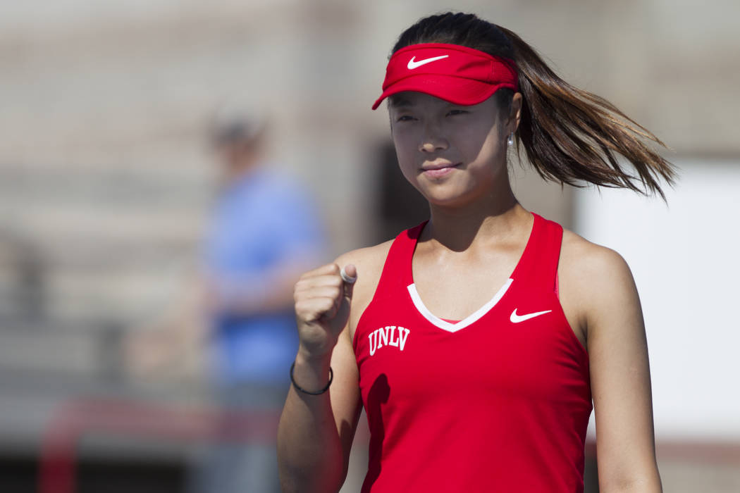 UNLV tennis player Aiwen Zhu reacts after a play in her match against Washington State at UNLV on Wednesday, March 15, 2017, in Las Vegas. (Erik Verduzco/Las Vegas Review-Journal) @Erik_Verduzco