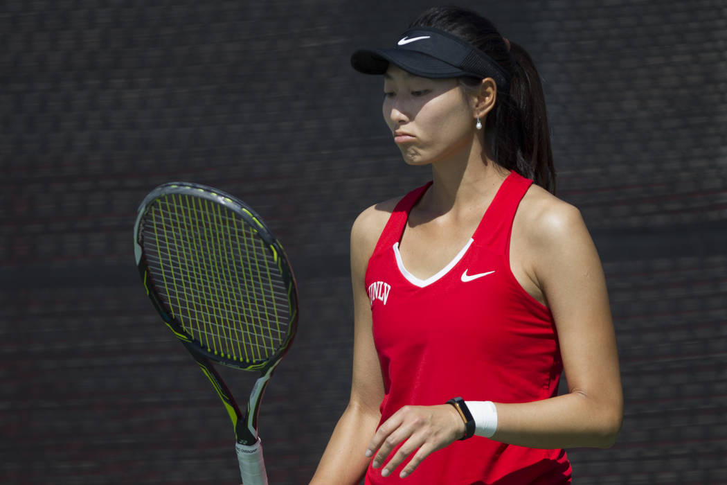 UNLV tennis player Carol Zi Yang during her match against Washington State at UNLV on Wednesday, March 15, 2017, in Las Vegas. (Erik Verduzco/Las Vegas Review-Journal) @Erik_Verduzco