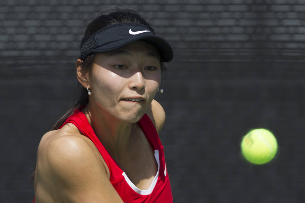 UNLV tennis player Carol Zi Yang before hitting the ball in her match against Washington State at UNLV on Wednesday, March 15, 2017, in Las Vegas. (Erik Verduzco/Las Vegas Review-Journal) @Erik_Ve ...