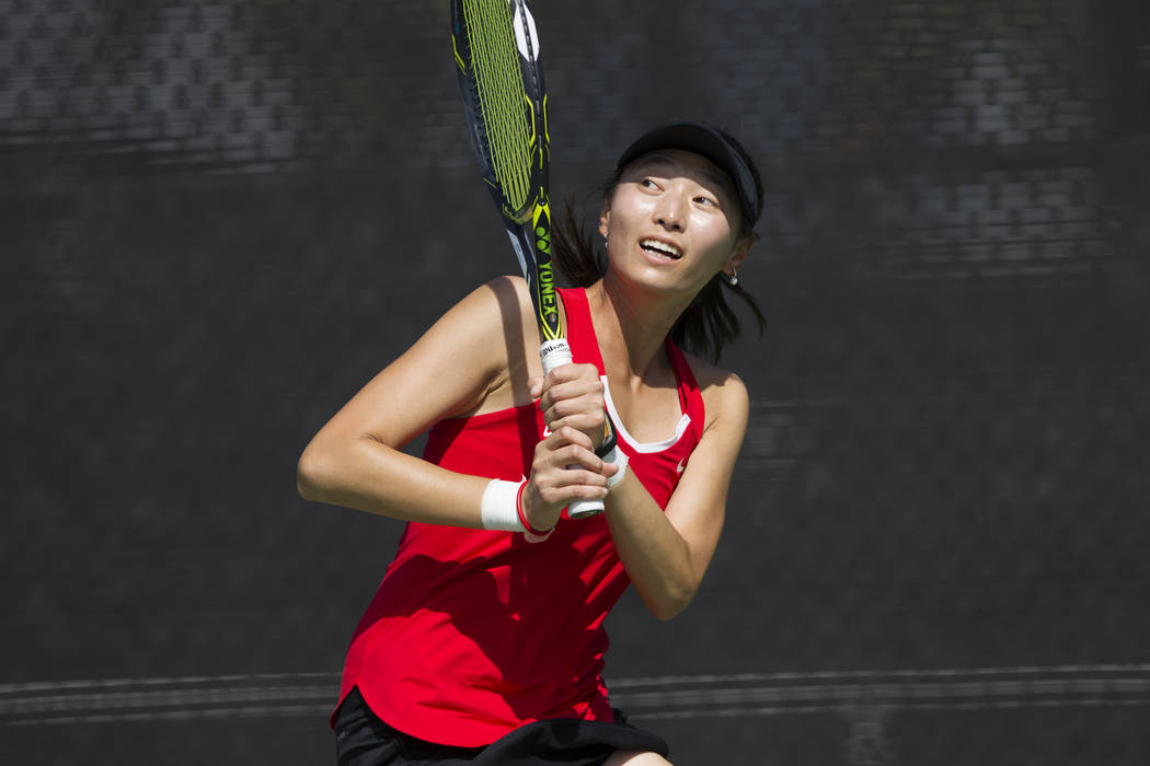UNLV tennis player Carol Zi Yang after hitting the ball in her match against Washington State at UNLV on Wednesday, March 15, 2017, in Las Vegas. (Erik Verduzco/Las Vegas Review-Journal) @Erik_Ver ...