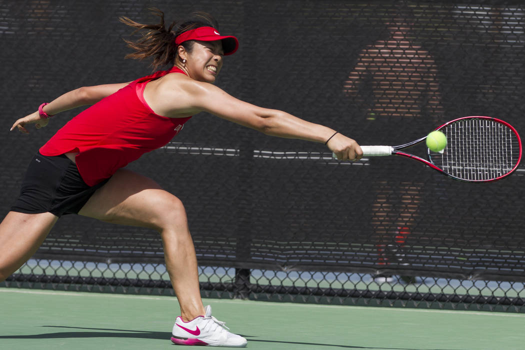 UNLV tennis player Aiwen Zhu hits the ball in her match against Washington State at UNLV on Wednesday, March 15, 2017, in Las Vegas. (Erik Verduzco/Las Vegas Review-Journal) @Erik_Verduzco