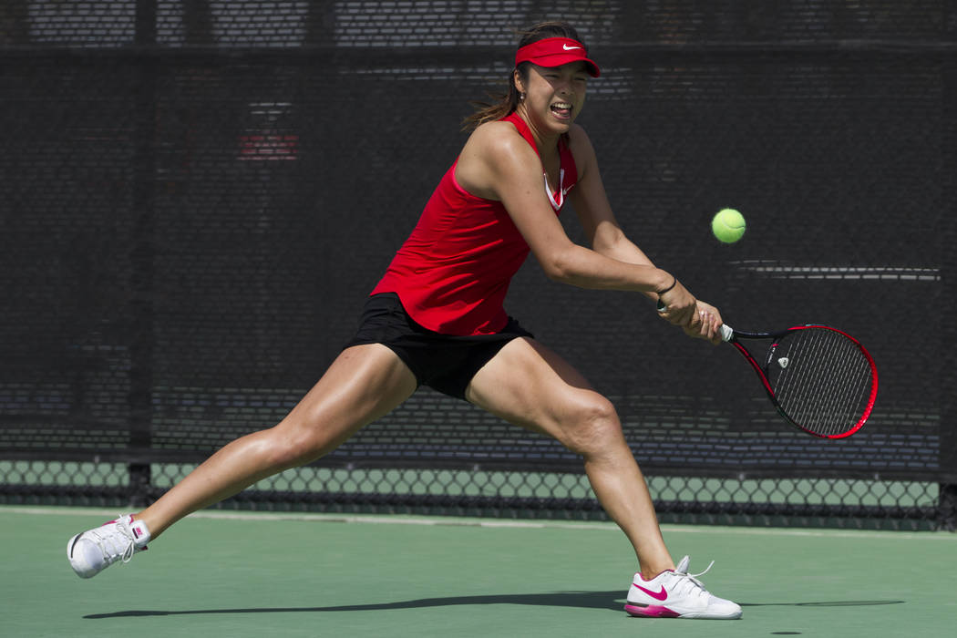 UNLV tennis player Aiwen Zhu before hitting the ball in her match against Washington State at UNLV on Wednesday, March 15, 2017, in Las Vegas. (Erik Verduzco/Las Vegas Review-Journal) @Erik_Verduzco