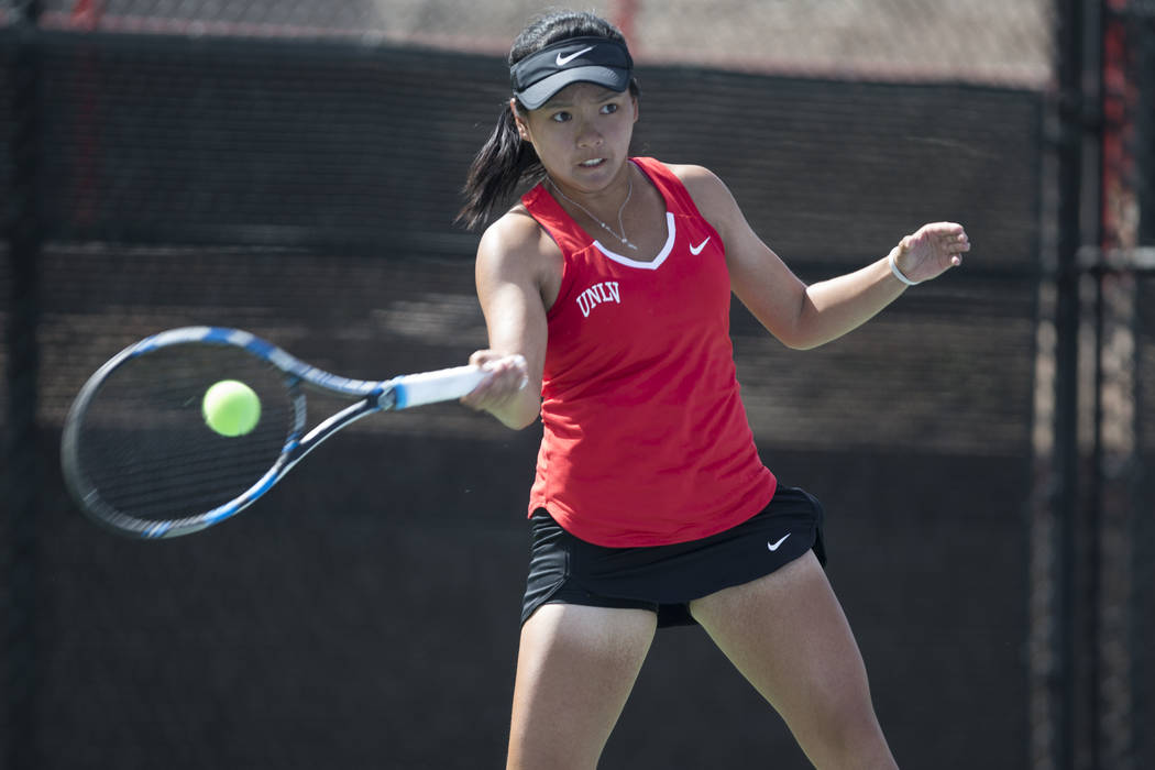 UNLV tennis player En-Pei Huang hits the ball in her match against Washington State at UNLV on Wednesday, March 15, 2017, in Las Vegas. (Erik Verduzco/Las Vegas Review-Journal) @Erik_Verduzco