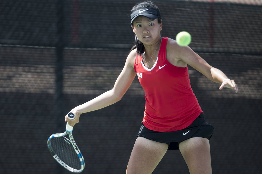 UNLV tennis player En-Pei Huang before hitting the ball in her match against Washington State at UNLV on Wednesday, March 15, 2017, in Las Vegas. (Erik Verduzco/Las Vegas Review-Journal) @Erik_Ver ...